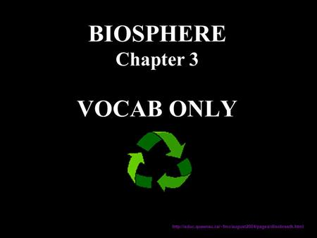 BIOSPHERE Chapter 3 VOCAB ONLY