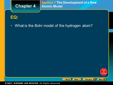 Chapter 4 EQ: What is the Bohr model of the hydrogen atom?