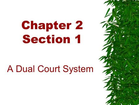 Chapter 2 Section 1 A Dual Court System. The Federal Court System.