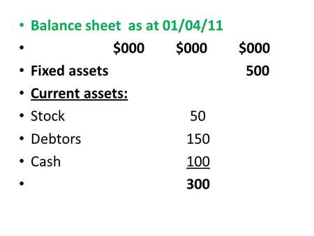 Balance sheet as at 01/04/11 $000$000$000 Fixed assets 500 Current assets: Stock 50 Debtors 150 Cash 100 300.