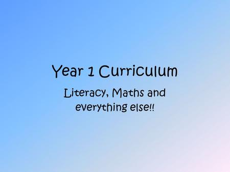 Year 1 Curriculum Literacy, <strong>Maths</strong> and everything else!!