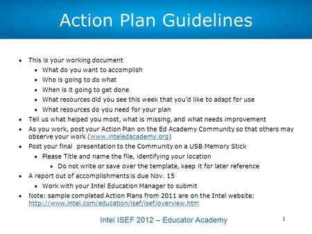 Intel ISEF 2012 – Educator Academy 1 Action Plan Guidelines This is your working document What do you want to accomplish Who is going to do what When.
