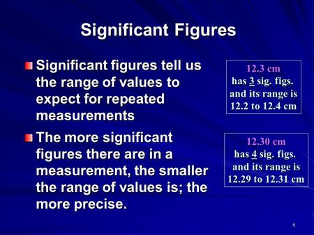 1 Significant Figures Significant figures tell us the range of values to expect for repeated measurements The more significant figures there are in a measurement,