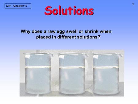 1 Solutions Why does a raw egg swell or shrink when placed in different solutions? ICP – Chapter 17.