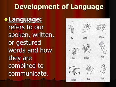 Development of Language Language: refers to our spoken, written, or gestured words and how they are combined to communicate. Language: refers to our spoken,