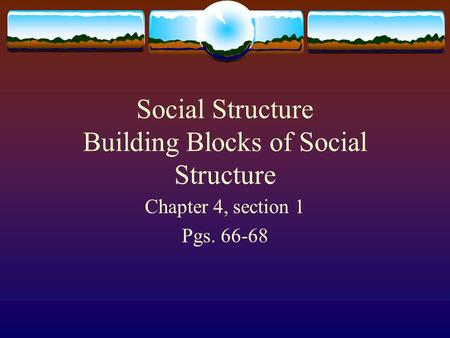 Social Structure Building Blocks of Social Structure Chapter 4, section 1 Pgs. 66-68.