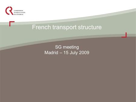 French transport structure SG meeting Madrid – 15 July 2009.