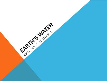 EARTH'S WATER CHAPTER 2 SECTION 3.  EQ: What physical processes keeps Earth's water constant?  OBJ: I will be able to use geographic terms and tools.