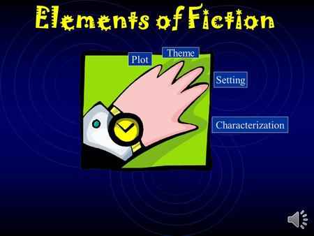 Elements of Fiction Plot Theme Setting Characterization.