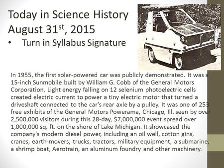 In 1955 The First Solar Powered Car Was Publicly Demonstrated It