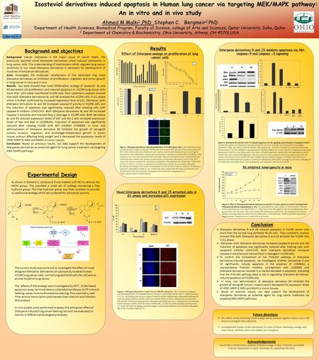 Isosteviol derivatives induced apoptosis in Human lung cancer via targeting MEK/MAPK pathway: An in vitro and in vivo study Ahmed M Malki 1,,PhD Stephen.
