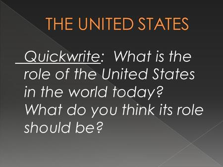 Quickwrite: What is the role of the United States in the world today? What do you think its role should be?