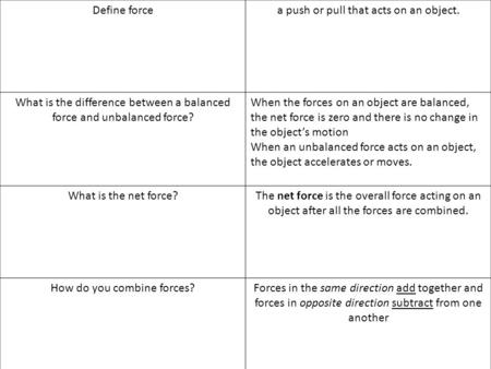 Define forcea push or pull that acts on an object. What is the difference between a balanced force and unbalanced force? When the forces on an object are.
