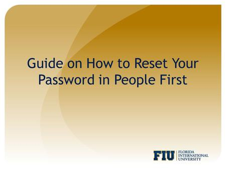 Guide on How to Reset Your Password in People First