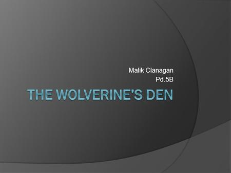 "Malik Clanagan Pd.5B. What is ""The Wolverine's Den""  The Wolverine's Den is a school convince store that sell everything from pens and pencils to snacks."