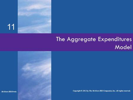 The Aggregate Expenditures Model 11 McGraw-Hill/Irwin Copyright © 2012 by The McGraw-Hill Companies, Inc. All rights reserved.