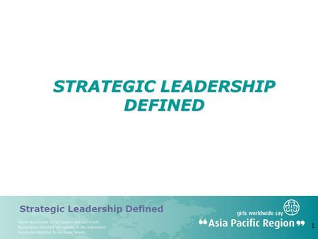 Strategic <strong>Leadership</strong> Defined 1 STRATEGIC <strong>LEADERSHIP</strong> DEFINED.