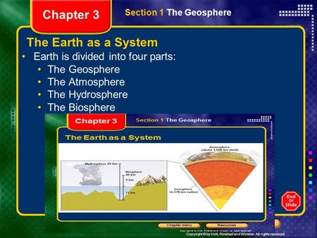 Chapter 3 The Earth as a System Earth is divided into four parts: