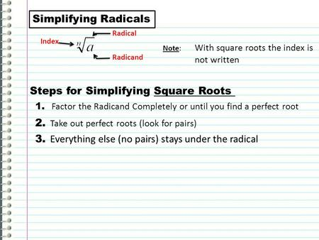 Simplifying Square Roots Worksheet