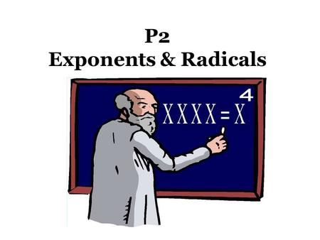 P2 Exponents & Radicals. What does an exponent tell you?? Repeated Multiplication How many times you multiply the base by itself.