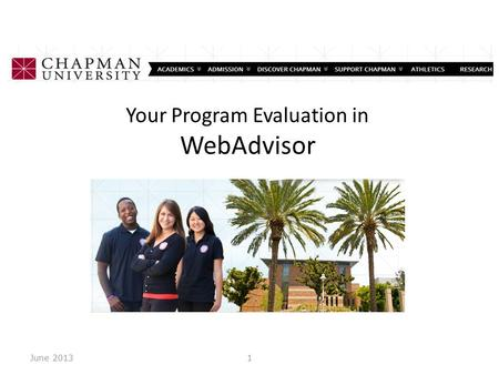your program evaluation in webadvisor june 20131