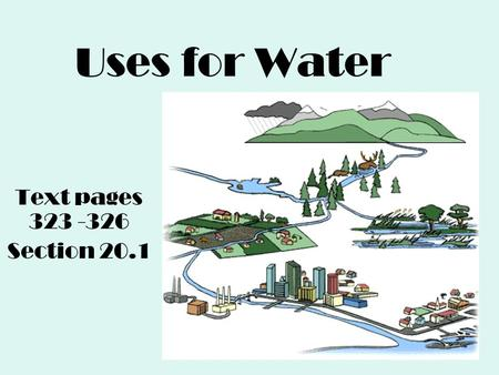 Uses for Water Text pages 323 -326 Section 20.1. Why care about water? Video (Short)Video Global Water Shortage: