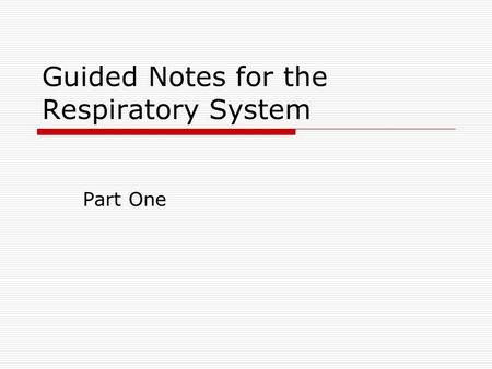 Guided Notes for the Respiratory System
