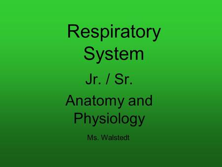 Respiratory System Jr. / Sr. Anatomy and Physiology Ms. Walstedt.