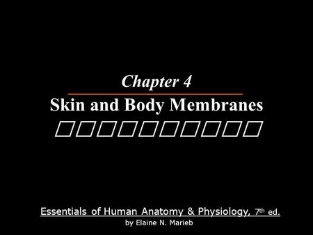 Essentials of Human Anatomy & Physiology, 7 th ed. by Elaine N. Marieb Chapter 4 Skin and Body Membranes Physiology.