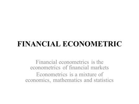 Financial pdf of econometrics markets
