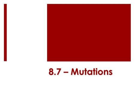 8.7 – Mutations. Key Concept  Mutations are changes in DNA that may or may not affect phenotype. mutated base.