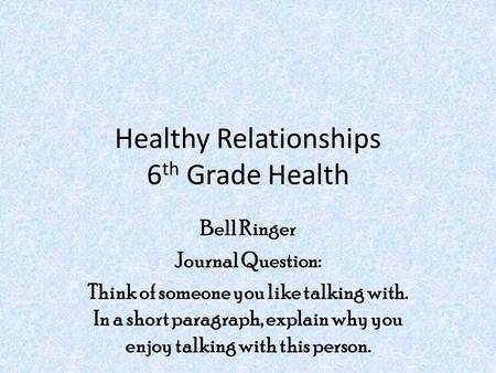 Healthy Relationships 6th Grade Health