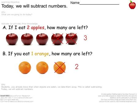 DataWORKS Educational Research (800) 495-1550  ©2012 All rights reserved. Comments? Kindergarten Mathematics.
