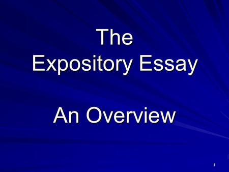 The Expository Essay An Overview