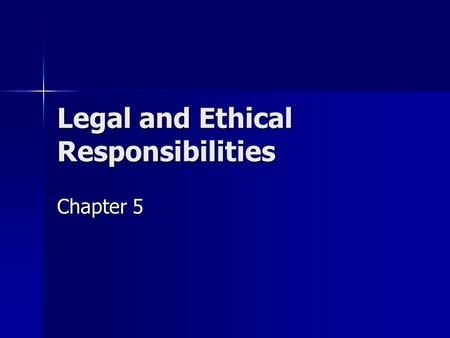 "Legal and Ethical Responsibilities Chapter 5. Criminal vs Civil Law Criminal Criminal –""crime"" –Focuses on wrongs against a person, property, or society."