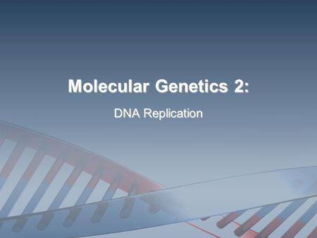 Molecular Genetics 2: DNA Replication WHAT IS DNA REPLICATION? The process of making two identical DNA molecules from an original, parental DNA molecule.