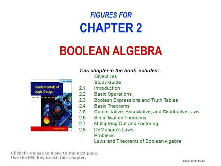 ©2004 Brooks/Cole FIGURES FOR CHAPTER 2 BOOLEAN ALGEBRA Click the mouse to move to the next page. Use the ESC key to exit this chapter. This chapter in.