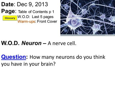 Warm-ups Date: Dec 9, 2013 Page: Table of Contents p 1 W.O.D: Last 5 pages Warm-ups: Front Cover W.O.D. Neuron – A nerve cell. Question: How many neurons.