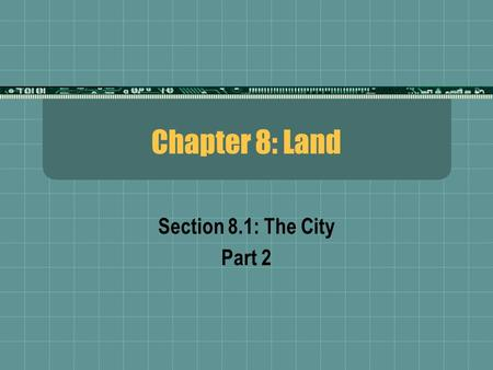 Chapter 8: Land Section 8.1: The City Part 2. When suburban sprawl began to take over the countryside surrounding Washington D.C., in the 1960's, a commission.