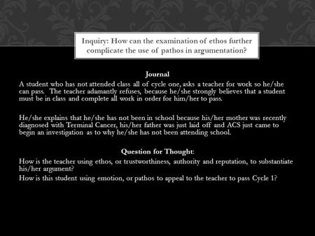 Journal A student who has not attended class all of cycle one, asks a teacher for work so he/she can pass. The teacher adamantly refuses, because he/she.