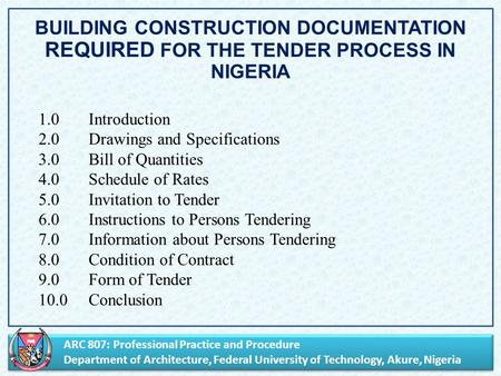 ARC 807: Professional Practice and Procedure Department of