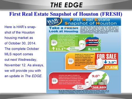 First Real Estate Snapshot of Houston (FRESH) Here is HAR's snap- shot of the Houston housing market as of October 30, 2014. The complete October MLS report.