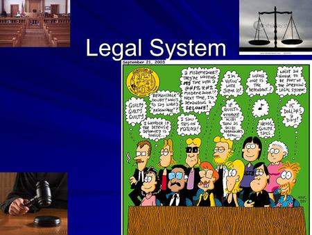 Legal System. Purpose of Laws Bring order to our lives, provide penalties, help settle disagreements, protect our rights, and promote welfare in society.