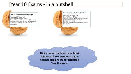 Year 10 Exam – English Language Tuesday 23 rd June AM Reading passages– 2 hours You will answer 3 questions (directed writing, select words and phrases.