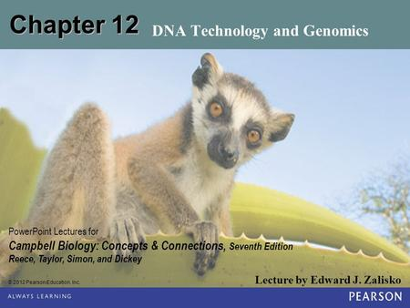© 2012 Pearson Education, Inc. Lecture by Edward J. Zalisko <strong>PowerPoint</strong> Lectures for Campbell Biology: Concepts & Connections, Seventh Edition Reece, Taylor,