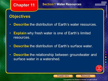 Copyright © by Holt, Rinehart and Winston. All rights reserved. ResourcesChapter menu Section 1 Water Resources Objectives Describe the distribution of.