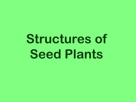 Structures of Seed Plants.