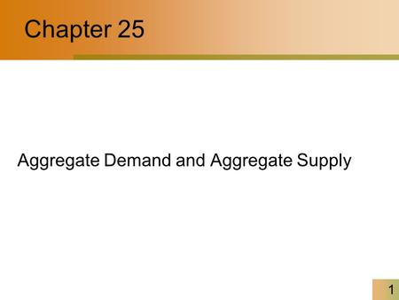 Chapter 25 Aggregate Demand and Aggregate Supply.