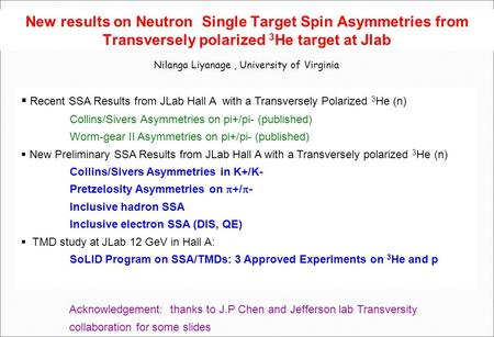 New results on Neutron Single Target Spin Asymmetries from Transversely polarized 3 He target at Jlab Nilanga Liyanage, University of Virginia  Recent.