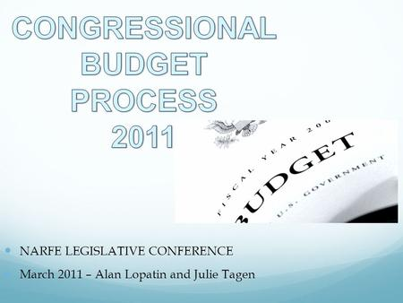 NARFE LEGISLATIVE CONFERENCE March 2011 – Alan Lopatin and Julie Tagen.